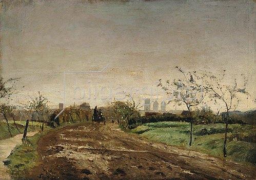 Otto Modersohn: Morgenlandschaft mit Kutsche vor Münster. 1887