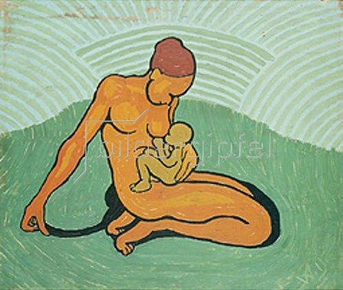 Wilhelm Morgner: Mutter mit Kind auf grünem Grund. 1911