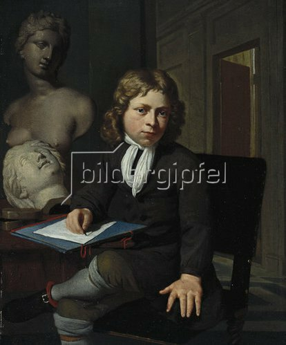 Jan van Neck: Knabe als junger Künstler (Interieur mit Modellköpfen). Um 1690