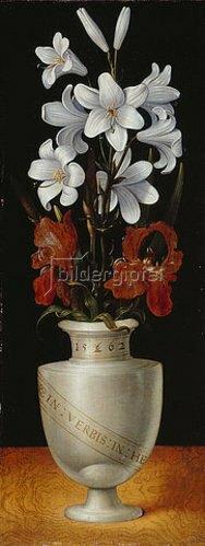 Ludger tom d.J Ring: Blumenvase mit braunroten und weißen Irisblüten. 1562