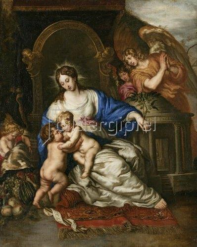 Joachim von Sandrart: Muttergottes mit dem Christuskind und dem Johannesknaben.