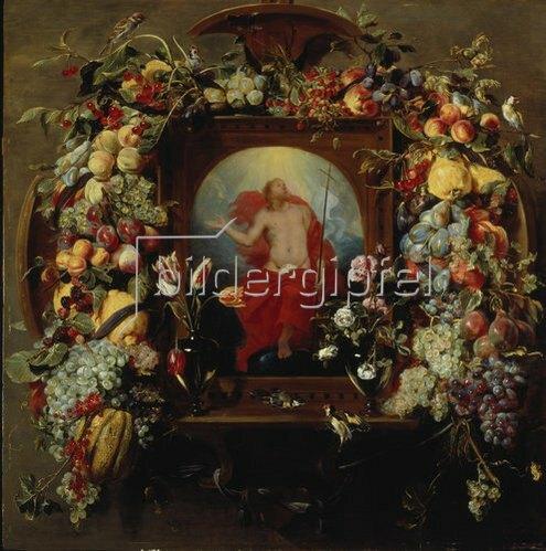 Frans Snyders: Blumen- und Früchtegirlande und Christi Himmelfahrt. Um 1630/40
