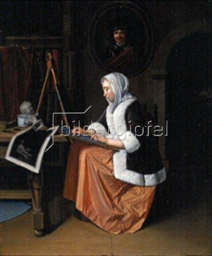 Pieter van der zugeschrieben Werff: Malerin im Atelier.