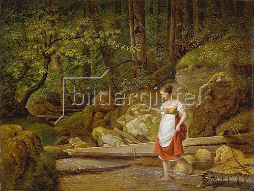 Ferdinand Georg Waldmüller: Waldlandschaft mit Mädchen. 1822
