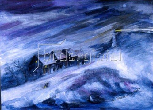 Annette Bartusch-Goger: Leuchtturm im Sturm (Schiffbruch)   2002