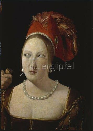 """Georges de La Tour: Detail aus """"Der Falschspieler mit dem Karo-As"""":Frau m. Federhut u. Kette 1620-40"""
