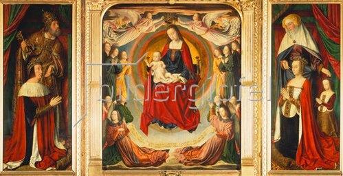 Jean (Meister von Moulins) Hey: Triptychon Maria mit Kind sowie Heiligen auf den Seitentafeln. 1489-99