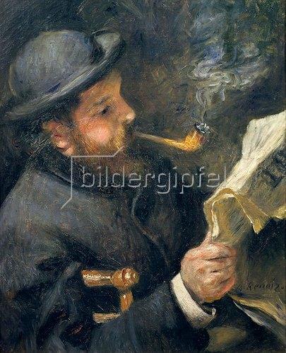 Auguste Renoir: Bildnis Claude Monet mit Pfeife beim Zeitung lesen. 1872