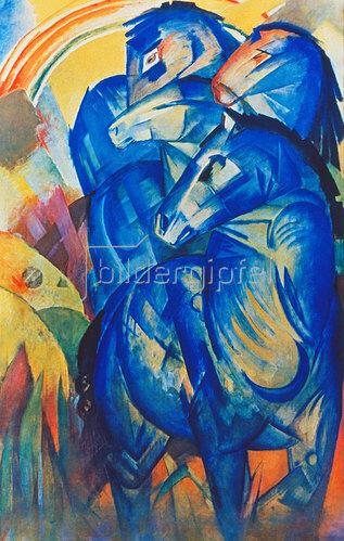 Franz Marc: Turm der blauen Pferde. 1913 (Aufnahme eines Hanfstaengl-Lichtdrucks nach dem im Krieg verschollenen Original)