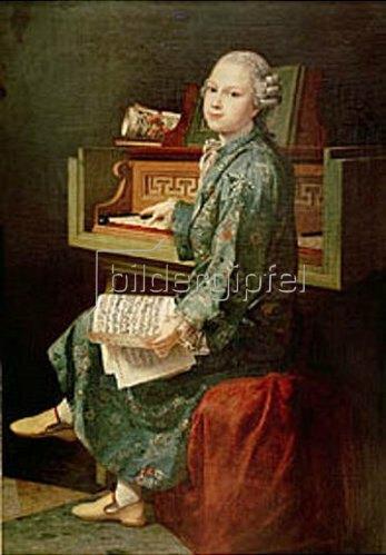 Französisch: Gemälde eines Jungen am Klavier, wahrscheinl. Wolfgang Amadeus Mozart.