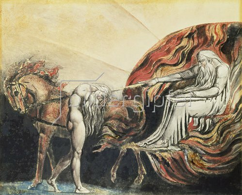 William Blake: Gott straft Adam. 1795.