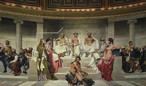 Paul Delaroche: Wandmalerei in der Akademie der schönen Künste, Paris. 1841. Mittlerer Teil