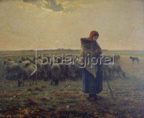 Jean-François Millet: Schafhirtin mit Herde (La grande Bergère). 1863