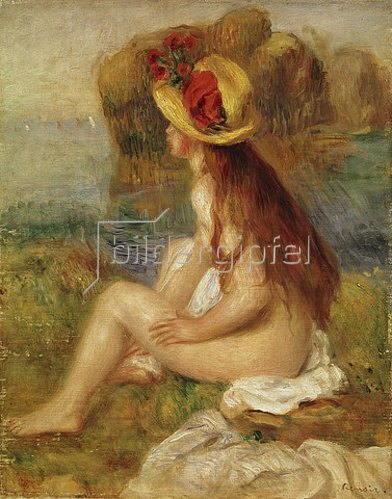 Auguste Renoir: Sitzende Badende mit blumengeschmücktem Strohhut.
