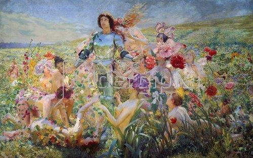 Georges Rochegrosse: Der Ritter mit den Blumen-Nymphen.