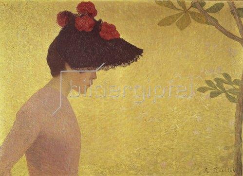 Aristide Maillol: Junge Frau im Profil mit grossem Hut. 1895.