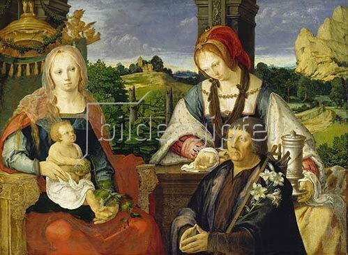 Lucas van Leyden: Maria mit dem Kinde, der hl.Magdalena und einem Stifter. 1522