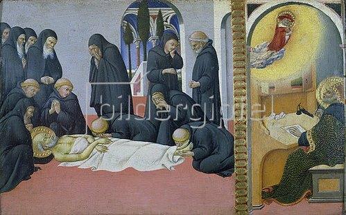 Sano di Pietro: Tod des hl. Hieronymus und Erscheinung vor Cyrillus, Bischof von Jerusalem. 1444