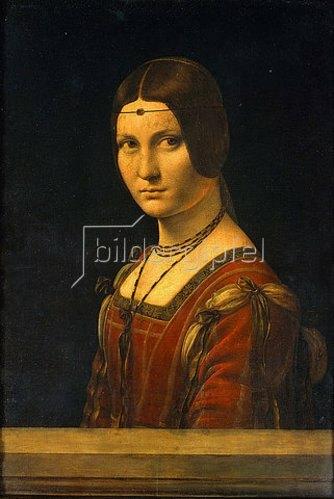 Leonardo da Vinci: Bildnis einer Dame des Mailänder Hofes (La belle Ferroniere). 1495-99