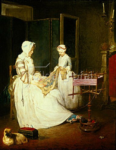 Jean-Baptiste Siméon Chardin: Die fleissige Mutter. Um 1738