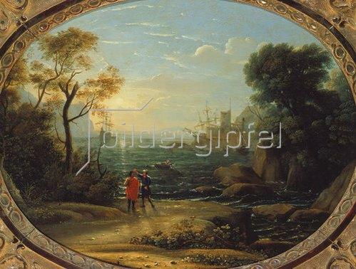 Claude Lorrain (Gellée): Hafenszene bei untergehender Sonne. 1633