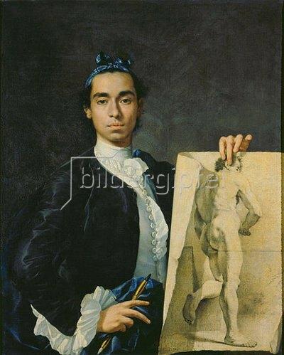 Luis Melendez: Selbstbildnis mit einer Aktstudie. 1746.