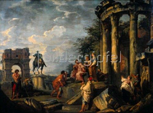 Giovanni Paolo Pannini: Antike Ruinen mit Janus-Tor, Vesta-Tempel und Reiterstandbild Marc Aurels. 1743