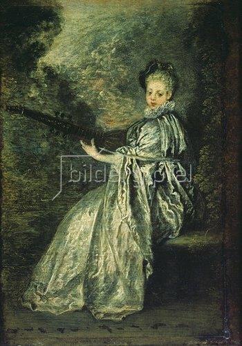 Jean Antoine Watteau: Die zartfühlende Musikantin. Um 1717