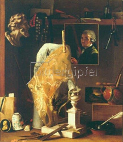 Antonio Cioci (Ciocchi): Selbstbildnis, umgeben von verschiedenen Gegenständen.