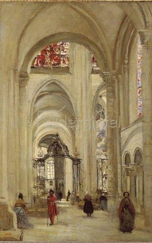 Jean-Baptiste Camille Corot: Inneres der Kathedrale von Sens.