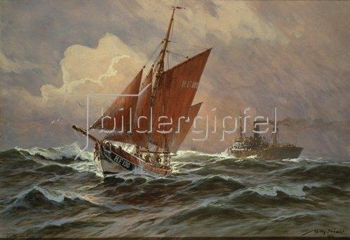 Willy Stöwer: Segler und Dampfschiff auf der Nordsee. 1924