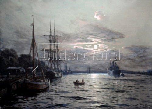 Willy Stöwer: Mondnacht im Hafen von Swinemünde  1922