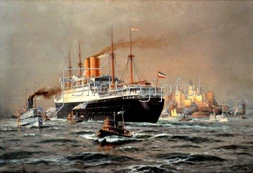Willy Stöwer: Der Hapag-Dampfer Deutschland bei der Ankunft in New York  1924