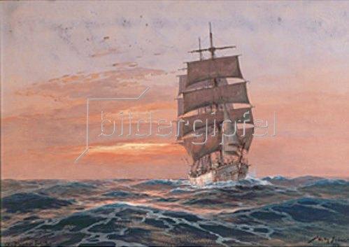 Willy Stöwer: Vollschiff vor untergehende Sonne  1921