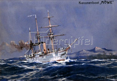 Willy Stöwer: Das Kanonenboot Möwe  Um 1908