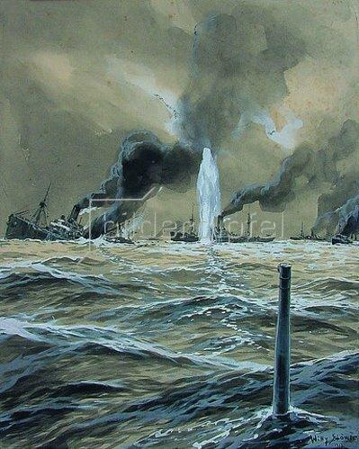 Willy Stöwer: Ein deutsches U-Boot torpediert einen Geleitzug von Handesschiffen 1923