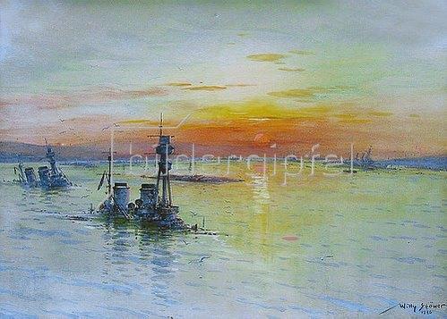 Willy Stöwer: Das Grosslinienschiff S.M.S.Kaiserin in Scapa Flow am 21.Juni 1919    1920