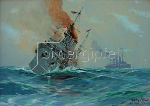 Willy Stöwer: Das Ende des kl. Kreuzers Nürnbergbei den Falkland-Inseln 8.12.14   1923