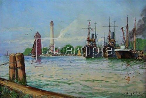 Willy Stöwer: Minensuchboote der Handelsschutzflotille in Osternothafen. 1917
