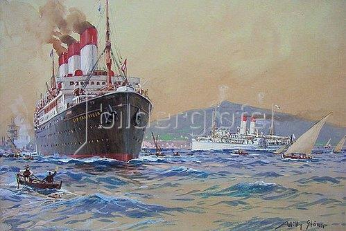 """Willy Stöwer: Der Dampfer """"Cap Trafalgar"""" der Hamburg-Südamerikanisch. 1914"""