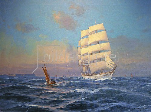 """Willy Stöwer: Das Schulschiff   """"Prinzess Eitel Friedrich""""  vor Cap Arcona      1922"""