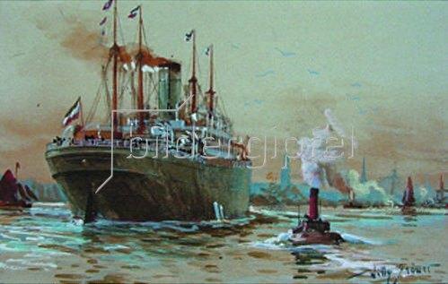 Willy Stöwer: Dampger Graf Waldersee vor dem Hamburger Hafen. 1912