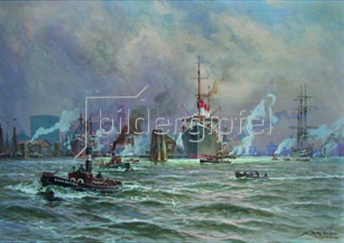 Willy Stöwer: Betrieb im Hamburger Hafen. Im Hintergrund die Cap Polonio. 1924