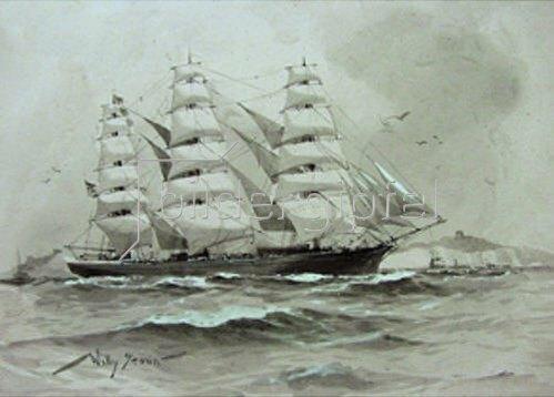 Willy Stöwer: Ein Vollschiff vor den Felsen von Dover. 1910