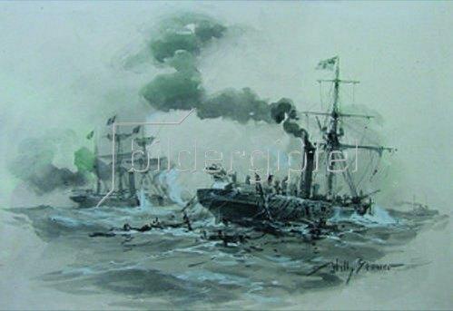 Willy Stöwer: Seegefecht zwischen Kanonenboot Meteoru.dem franz.AvisoBouvet 9.11.1870