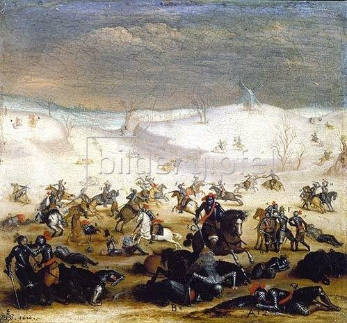 Jan Brueghel d.Ä.: Schlachtszene in Winterlandschaft. 1614