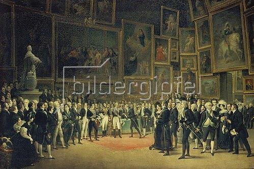François-Joseph Heim: Karl X. bei der Preisverleihung an die Künstler des Salon von 1824 am 15.1.1825.