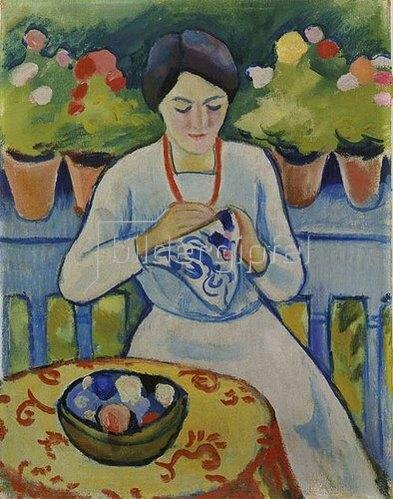 August Macke: Elisabeth auf dem Balkon des Staudacher Hauses am Tegernsee. 1910.