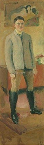 August Macke: Selbstbildnis in Litewka, 1909.
