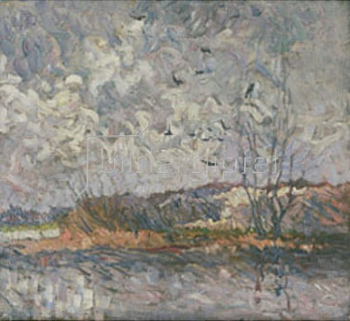 Heinrich Nauen: Spreelandschaft mit Krähen. Um 1906.